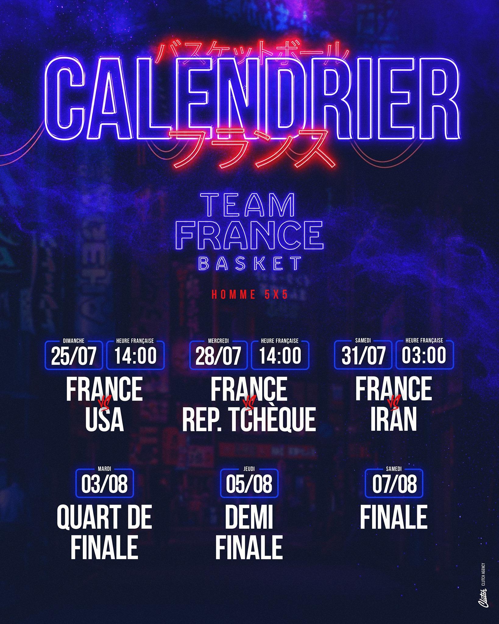 Calendrier Equipe de France masculine