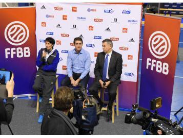 Valérie Garnier, Jean-Pierre Siutat et Patrick Beesley lors de la conférence de presse de ce jour à l'INSEP - Photo : Bellenger/IS/FFBB