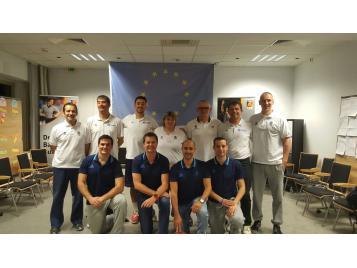 10 formateurs d'arbitres français encadrés par Bruno Vauthier lors du stage de formation à Berlin