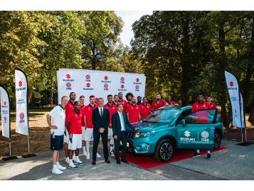 Les joueurs de l'Equipe de France lors du partenariat Suzuki