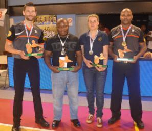 Baptiste Carimentrand (Nord Pas De Calais), Max M'Bouhou (Martinique), Jeanne Le Dinahet (Bretagne) et Frantz Merluche (Guadeloupe)