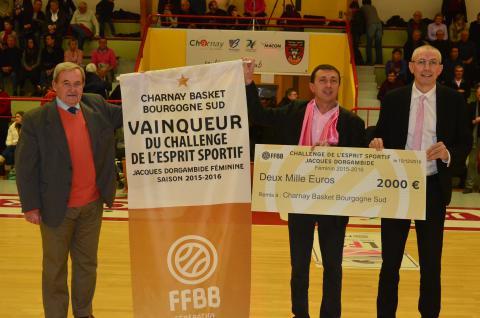Charnay Basket Bourgogne Sud vainqueur en féminin du Challenge de l'Esprit Sportif 2015-16